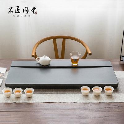 天然整块乌金石茶盘家用简约功夫茶台茶海石头小茶具烧水套装茶托