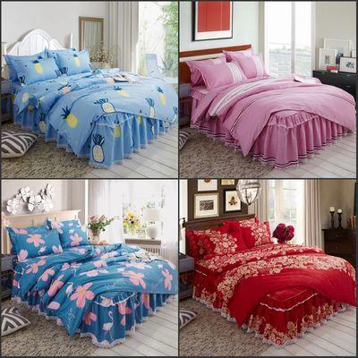 蕾丝花边床裙床上四件套韩式公主床罩套件1.5床1.8碎花防滑床单套