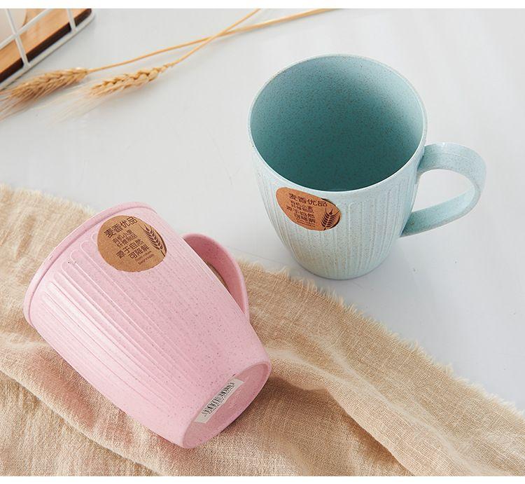 小麦秸秆漱口杯带手柄水杯家用牙刷杯情侣杯喝水杯子