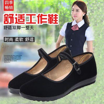 赛格老北京布鞋女平底浅口单鞋酒店服务员银行上班黑色平跟妈妈鞋