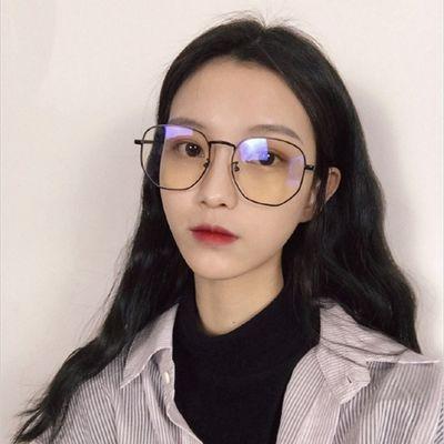 眼镜女学生网红同款平光镜可配近视镜防辐射潮个性大框男显脸小
