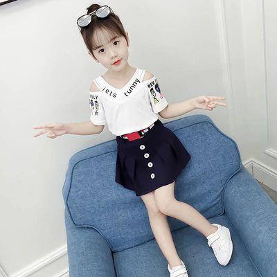 女童夏装套装2020新款洋气夏季女孩子短裙套装时尚儿童短袖两件套