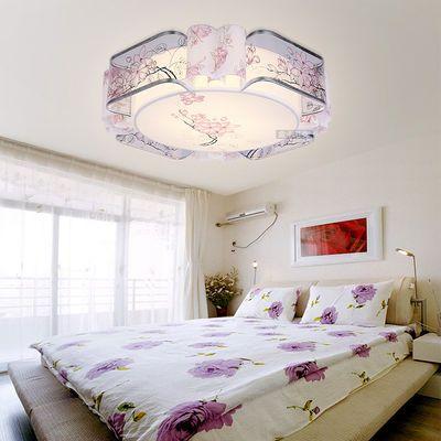 led吸顶灯卧室灯圆形现代简约客厅灯房间婚房灯温馨浪漫卧室灯具