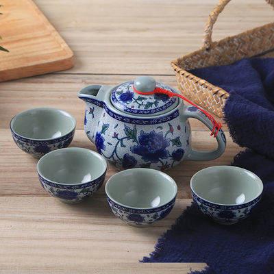 潮汕陶瓷古典茶具青花家庭冲茶杯茶壶户外便携宿舍泡茶酒楼早茶壶
