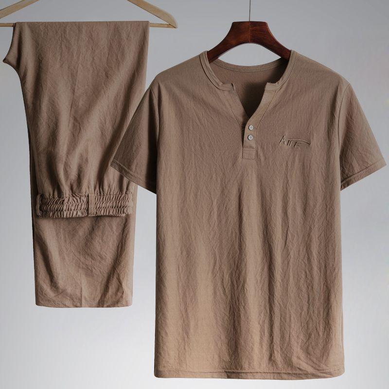 中老年棉麻套装男夏季短袖长裤休闲装