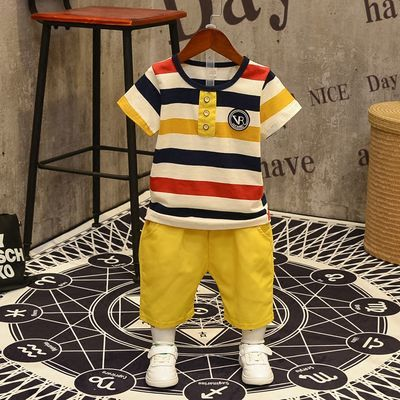 儿童夏装男童套装2020新款条纹短袖中小童夏季宝宝T恤+短裤两件套