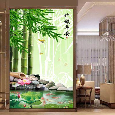 竹报平安装饰画九鱼图荷花竹子玄关墙壁贴画客厅风水走廊过道自粘