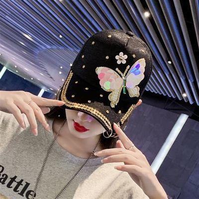 帽子女夏天韩版蝴蝶镶钻棒球帽户外女士遮阳鸭舌帽金属三环太阳帽