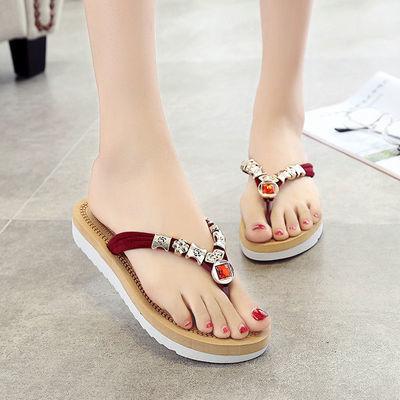 人字拖女夏季沙滩鞋家居外穿平底凉拖水钻时尚防滑女学生夹趾拖鞋