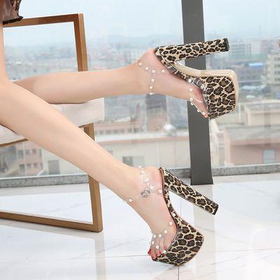 钢管舞16CM豹纹凉鞋鱼嘴性感高跟鞋2019珍珠新款走秀模特T台演出