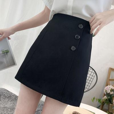 高腰A字裙2020夏季新款纽扣短裙女港味风纯色包臀裙子半身短裙