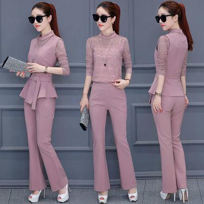 时尚套装女2020春新款女装修身显瘦马甲蕾丝长袖长裤职业三件套潮