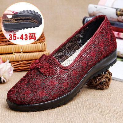 老太太夏天鞋老北京布鞋女中老年老人妈妈鞋子40岁50大码奶奶网鞋