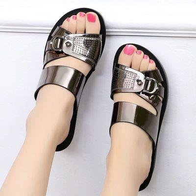 妈妈凉拖鞋女夏外穿沙滩鞋坡跟防滑软底一字拖凉鞋厚底中年拖鞋女