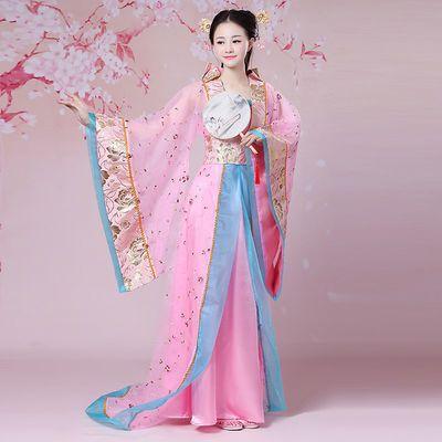 古装贵妃服装拖尾女汉服 唐朝皇后公主仙女COS古筝演出服年会表演