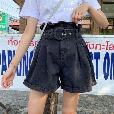 2020夏季新款韩版大码胖mm牛仔短裤女高腰宽松显瘦a字阔腿热裤子