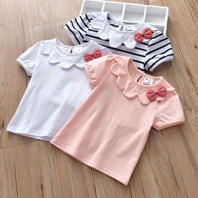 女童短袖条纹t恤0-1岁6童装小童夏装儿童婴儿夏季3-5女宝宝上衣夏