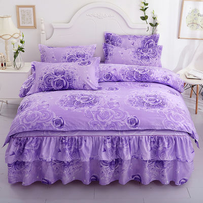 床裙四件套床上用品【送礼品毯】1.21.51.8韩版公主风床罩4四件套