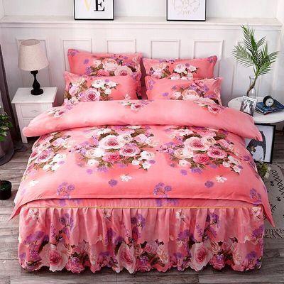 新品加厚磨毛床裙四件套床罩被套被罩韩版公主风双人婚庆床上用品