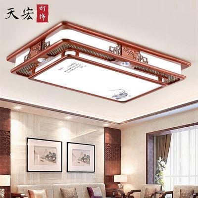 LED吸顶灯现代中式长方形客厅灯木艺实木亚克力房间卧室书房灯具