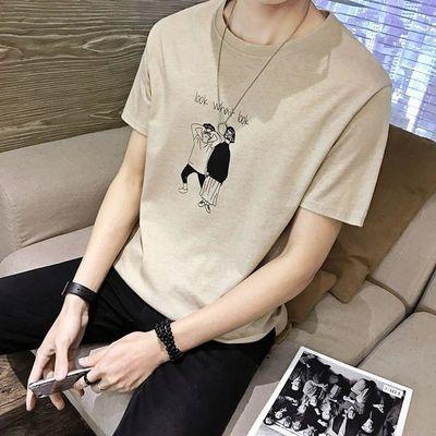 短袖男圆领潮流青年2019新款男装潮牌学生夏季衣服男士短袖T恤�B