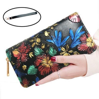 【特价】钱包女欧美长款拉链复古压花手拿包大容量女手包手机包