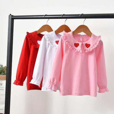 宝宝娃娃领上衣3岁婴儿春装女儿童翻领长袖T恤纯棉春秋女童打底衫