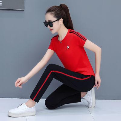 短袖运动套装女夏季新款跑步休闲大码纯棉宽松两件套运动装女长裤