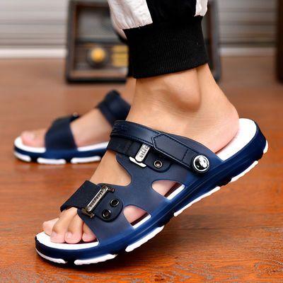 凉鞋男士拖鞋男夏季韩版沙滩鞋洞洞鞋浴室内外防滑一字拖凉拖鞋男