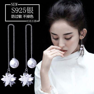 耳线女气质韩国冰花朵简约长款珍珠吊坠耳环水晶个性纯银耳钉耳坠