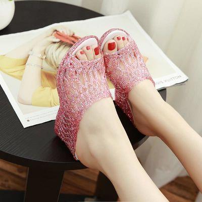 女夏新款凉鞋鱼嘴果冻鞋塑料鸟巢高跟鞋坡跟水晶凉拖鞋妈妈鞋