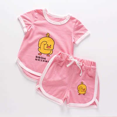 【14.88元限时抢,抢完恢复19.8元】儿童短袖套装【0-8岁】男童韩版运动套装女宝宝T恤短裤两件套夏季
