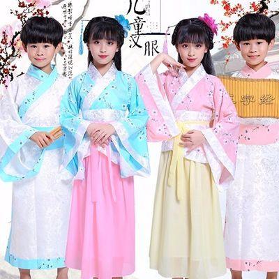 六一儿童古装棉麻汉服表演服弟子规三字经女童男童书生书童演出服