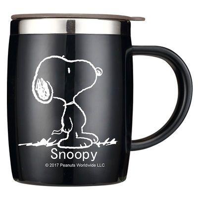 史努比创意水杯304不锈钢茶杯马克杯带盖喝水咖啡办公室家用杯子