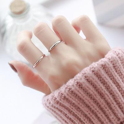 潮人玫瑰金小指不掉色钛钢男女情侣对戒戒指简约光面极细尾戒学生