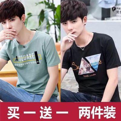 两件/单件 /男士短袖t恤夏季款潮流圆领学生大码韩版修身潮牌半袖