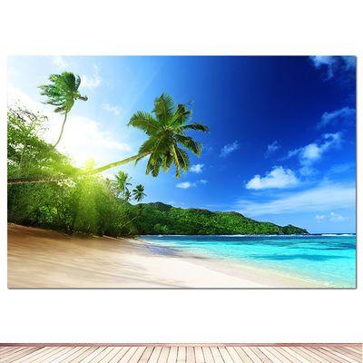 大海沙滩装饰画蓝天白云自然风景海边风景画海报房间装饰酒店贴画