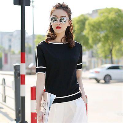 冰丝短袖女夏季宽松上衣2020新款薄款针织衫气质时尚半袖黑色t恤