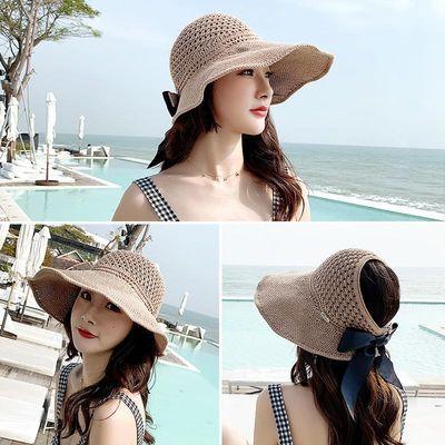 韩国遮阳帽子女夏天空顶帽韩版防晒沙滩帽出游百搭防紫外线太阳帽