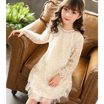 【两件套】女童连衣裙2020新款春秋装公主裙童装网纱裙长袖蕾丝裙