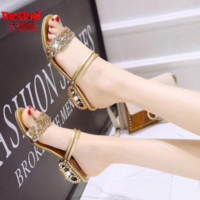 【天赐魅】凉鞋女韩版粗跟中跟时尚百搭舒适外穿一鞋两穿凉拖鞋