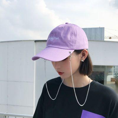 ins原宿潮流浅紫色帽子女夏天学生韩版街头鸭舌帽嘻哈个性棒球帽