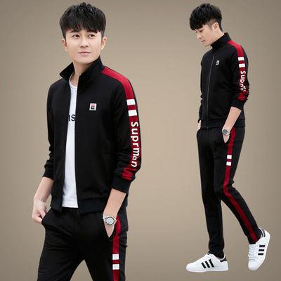 运动休闲套装男春秋新款2020中青年跑步韩版潮流帅气运动服三件套