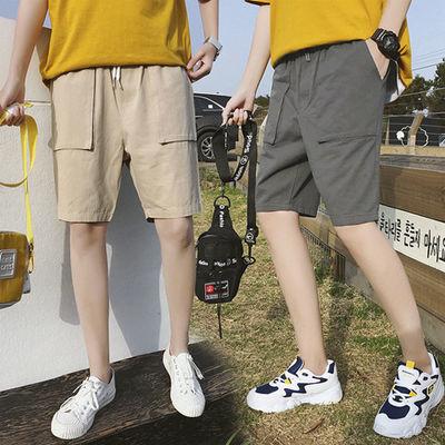 纯棉夏季休闲运动短裤男工装立体大口袋五分裤大码青少年纯色中裤