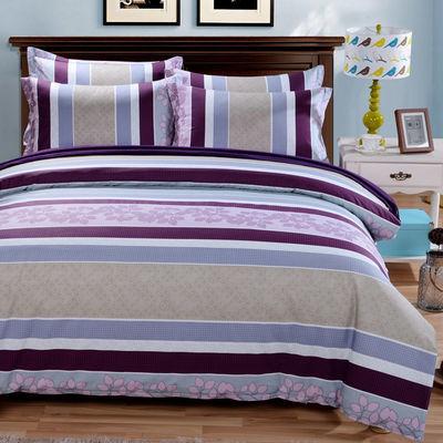 全棉四件套纯棉斜纹4件套双人被套床单1.2/1.5/1.8/2.0米床上用品
