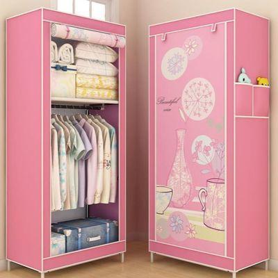 创意立式出租房简易布衣柜加厚布用单杆单卖门全钢书桌婴儿80