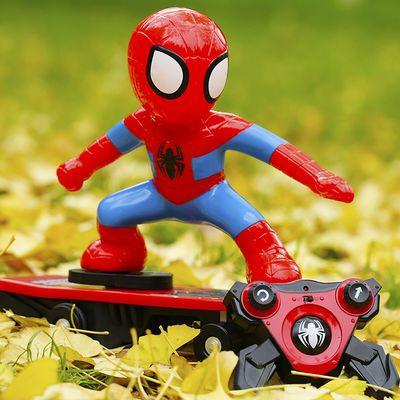 遥控蜘蛛侠滑板车滑不倒遥控车哪吒之魔童降世电动翻滚特技车玩具