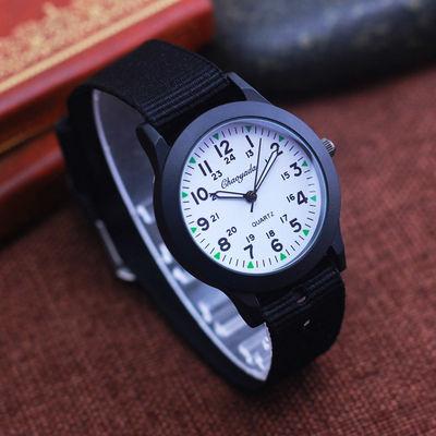 男孩女孩学生24小时制认时间帆布石英手表 儿童时尚电子礼物腕表