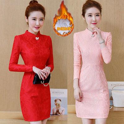 秋冬装连衣裙旗袍打底加厚显瘦新款网红两件套蕾丝子女长20斤母夏