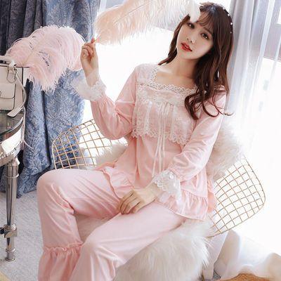 睡衣女春秋季纯棉长袖蕾丝花边韩版甜美可爱学生公主风家居服套装